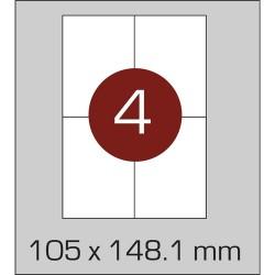 Этикетка самоклеящаяся А4 (4 шт на листе)105 х 148,1 мм с прямыми углами