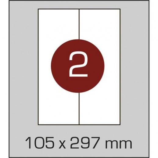 Этикетка самоклеящаяся А4 (2 шт на листе)105 х 297 мм с прямыми углами