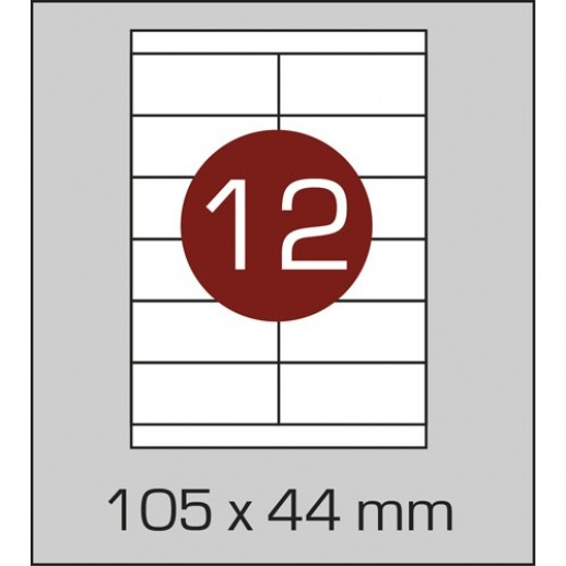 Этикетка самоклеящаяся А4 (12 шт на листе)105 х 44 мм с прямыми углами