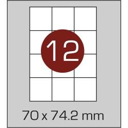 Этикетка самоклеящаяся А4 (12 шт на листе) 70 х 74,2 мм с прямыми углами