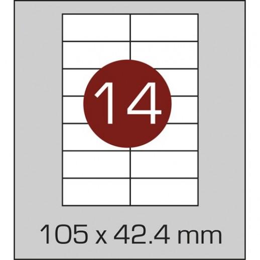 Этикетка самоклеящаяся А4 (14 шт на листе)105 х 42,4 мм с прямыми углами