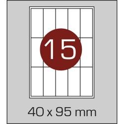 Этикетка самоклеящаяся А4 (15 шт на листе) 40х95 мм с прямыми углами
