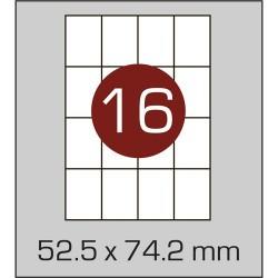 Этикетка самоклеящаяся А4 (16 шт на листе) 52,5 х 74,2 мм с прямыми углами