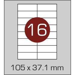 Этикетка самоклеящаяся А4 (16 шт на листе) 105х37,1 мм с прямыми углами