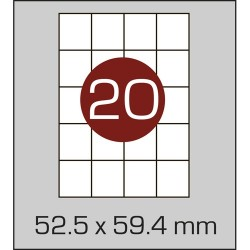 Этикетка самоклеящаяся А4 (20 шт на листе) 52,5 х 59,4мм с прямыми углами