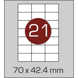 Этикетка самоклеящаяся А4 (21 шт на листе) 70 х 42,4мм с прямыми углами