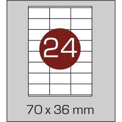 Этикетка самоклеящаяся А4 (24 шт на листе) 70х36мм с прямыми углами