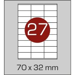Этикетка самоклеящаяся А4 (27 шт на листе) 70х32мм с прямыми углами