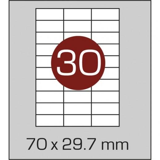 Этикетка самоклеящаяся А4 (30шт на листе) 70х29,7 мм с прямыми углами
