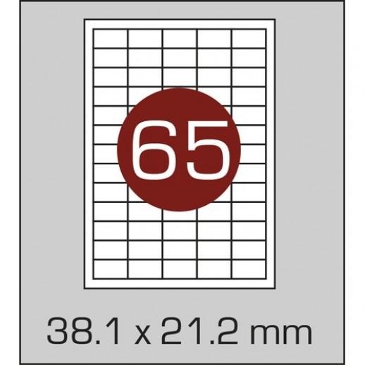 Этикетка самоклеящаяся А4 (65 шт на листе) 38,1х21,2мм с прямыми углами