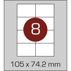 Этикетка самоклеящаяся А4 (8 шт на листе)105 х 74,2мм с прямыми углами