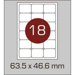 Этикетка самоклеящаяся А4 (18шт на листе) 63,5 х 46,6 мм с скругленными углами