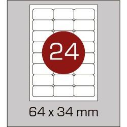 Этикетка самоклеящаяся А4 (24шт на листе)64х34 мм с скругленными углами