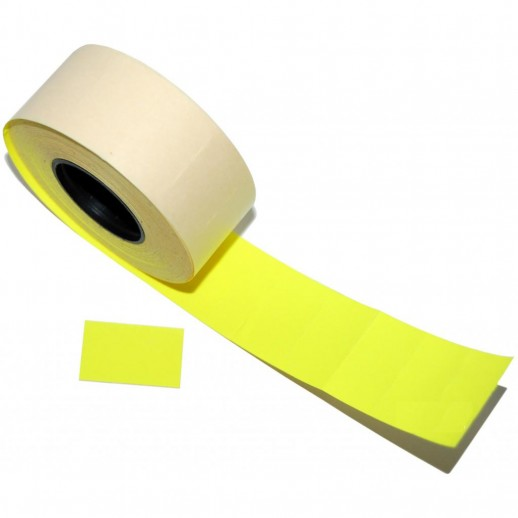 Этикет лента 26х16мм, флюорисцентная желтая 1000 шт, упаковка 52 рулона
