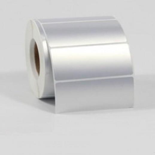 Этикетка металлизированная 70х35 мм полиэстер, матовое серебро 3000 шт