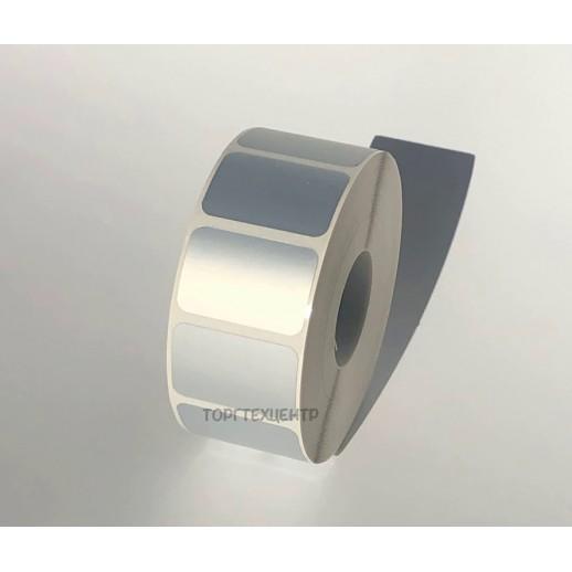 Этикетка металлизированная 30х20 мм полиэстер, матовое серебро 1000 шт